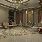 Intérieur baroque avec sol en marbre