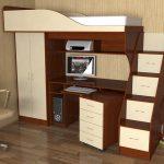 Lit mezzanine avec espace de travail et armoire
