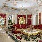 Salon luxueux en rouge et blanc