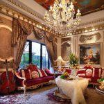 Rideaux pour le salon dans le style baroque