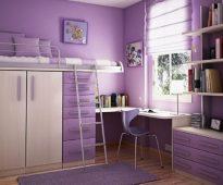 lit mezzanine lilas avec penderie