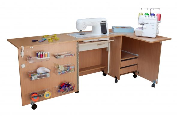 Table pour machine à coudre et surjeteuse