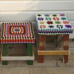 couvertures tricotées pour les tabourets