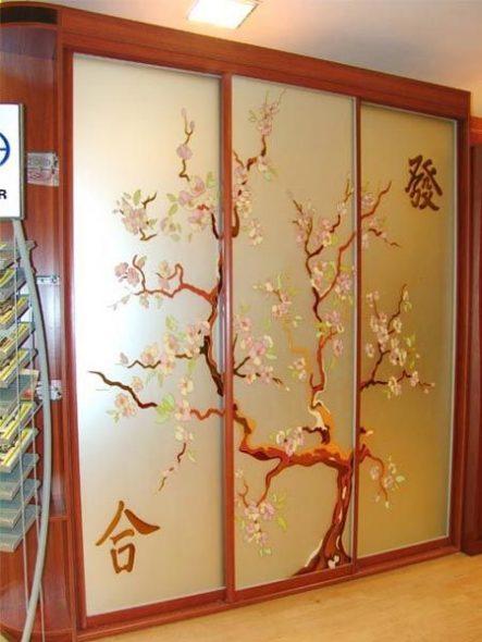 Armoire coulissante avec vitrail Sakura