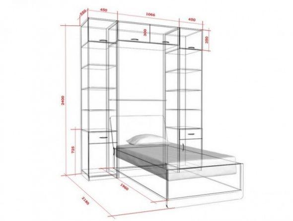 Dessin lit armoire
