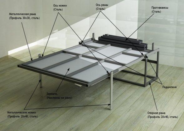 Cadre métallique du lit élévateur