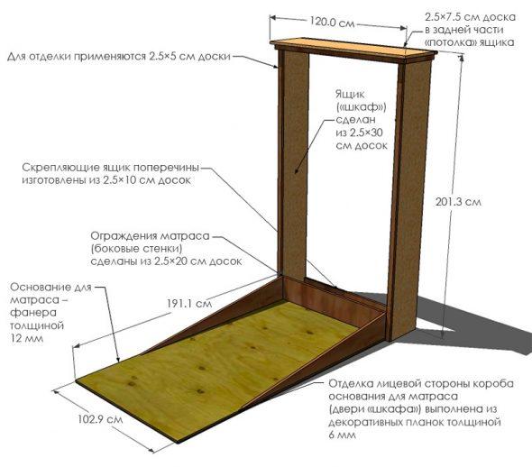 Plan de lit détaillé