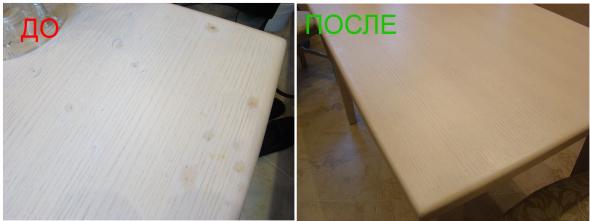 Gedeeltelijke restauratie van de tafel witte eik