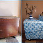 Table pliante avant et après restauration