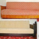 Sofa avant et après le remplacement du rembourrage