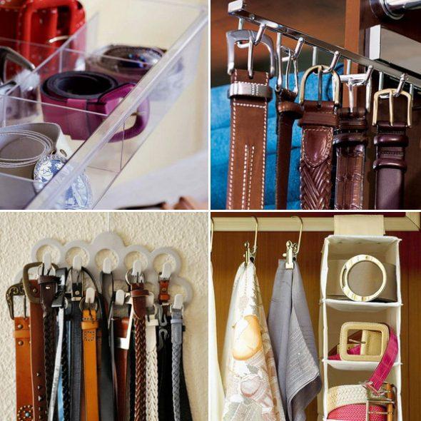 Stropdassen, riemen en riemen hangen aan de deur