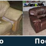 Canapé en cuir avant et après récupération
