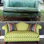 Beau canapé antique avant et après le remplacement de la garniture