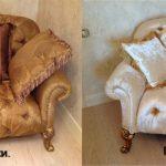 Canapé stylé inhabituel avant et après le rembourrage