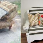 Canapé original avant et après reconstruction