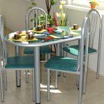 Table et chaises ovales avec éléments en métal