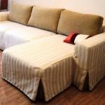 Housse de canapé d'angle rayée