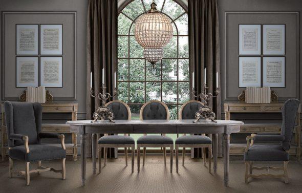 Table ovale pliante pour salon de style classique