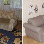 Réparer le canapé d'angle rembourré avant et après