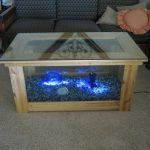 Table en verre éclairé