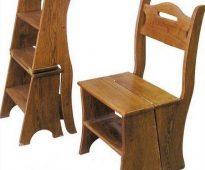 Chaise en bois - escabeau