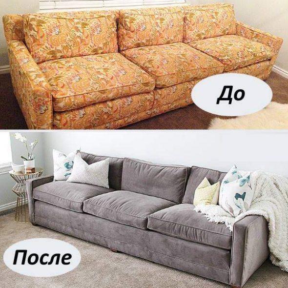 Restauration d'un grand canapé