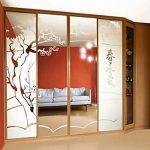 Armoire diagonale avec portes en miroir