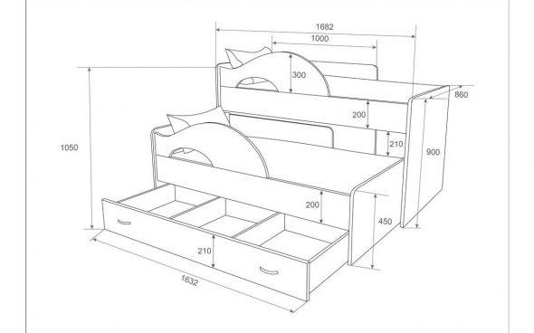 Dessin d'un lit gigogne de deux étages
