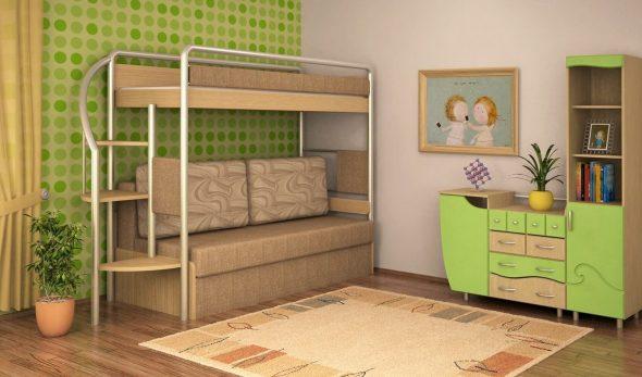 Lit mezzanine avec canapé