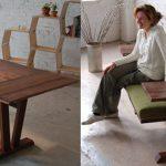 Table à manger se transformant en un banc avec une étagère