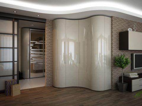 Cabinet avec façade incurvée avec