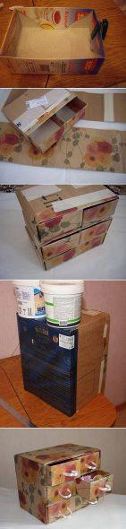 Commode soignée de boîtes en carton