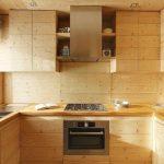 Plan de travail en bois avec meubles intégrés