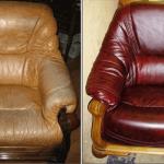 Chaise en cuir marron avant et après la taille