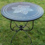 Table forgée avec mosaïque Lotus Noir