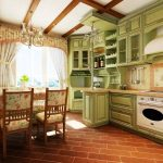 Belle cuisine verte avec mezzanines de grands casiers