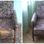 Beau fauteuil moelleux avec accoudoirs avant et après réparation