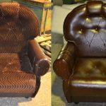 Fauteuil en brun avant et après le rembourrage