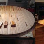 Table à manger ronde en bois collé