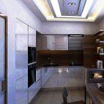Armoires de cuisine jusqu'au plafond dans une cuisine intégrée moderne