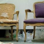 Chaise rembourrée avant et après restauration