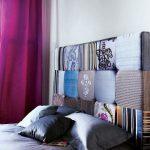 Tête de lit capitonnée avec coussins en patchwork