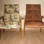 Nouvelle tapisserie d'ameublement pour vieilles chaises soviétiques