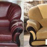 Chaise mise à jour en couleur sable après restauration