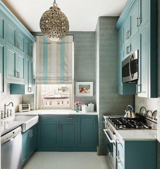 Plafond de jo cuisine turquoise douce