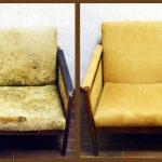 Chaise jaune avant et après réparation de leurs propres mains