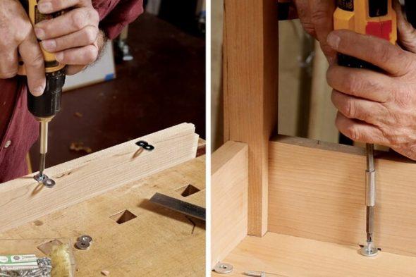 Installation de dessus de table en utilisant des supports-huit