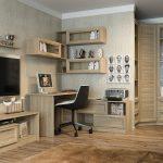 Bureau classique avec une disposition angulaire d'étagères