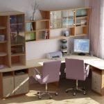 Bureau d'angle avec tablettes et étagères intégrées pour les livres