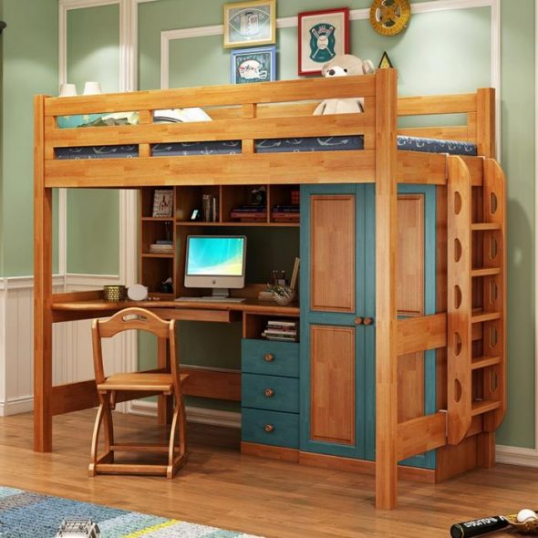 Lit mezzanine en bois